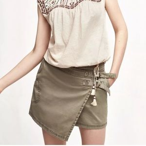 Anthropologie Hei Hei Army Green Utility Skort